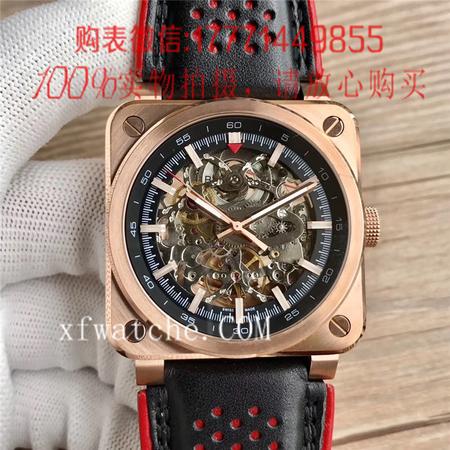 BR厂,柏莱士BR 03-92 AÉRO GT 镂空玫金壳方形机械手表