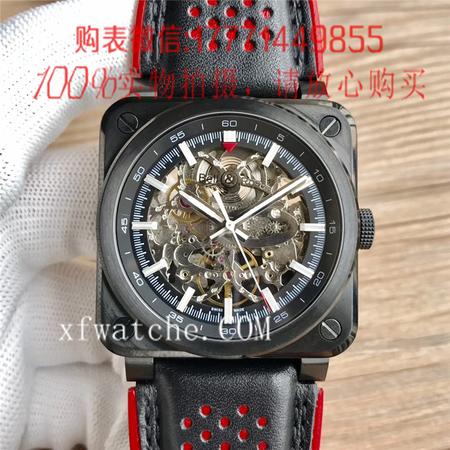 BR厂,柏莱士BR 03-92 AÉRO GT 镂空黑壳方形机械手表