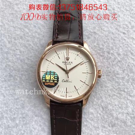 MK厂V3版,Rolex劳力士切利尼系列 50505(玫瑰金白面)条丁