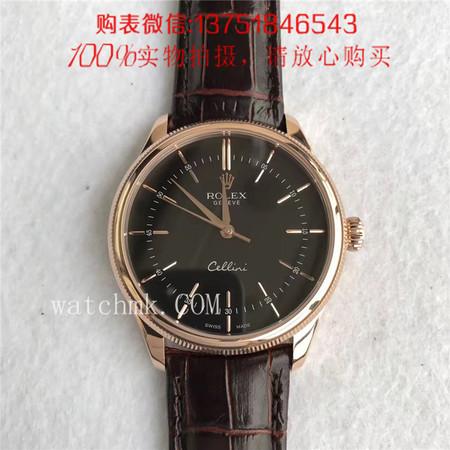 MK厂V3版,Rolex劳力士切利尼系列 50505-0020(玫瑰金黑面)条丁